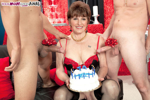 Mature lady Bea Cummins celebrates a birthday by fucking 2 younger men