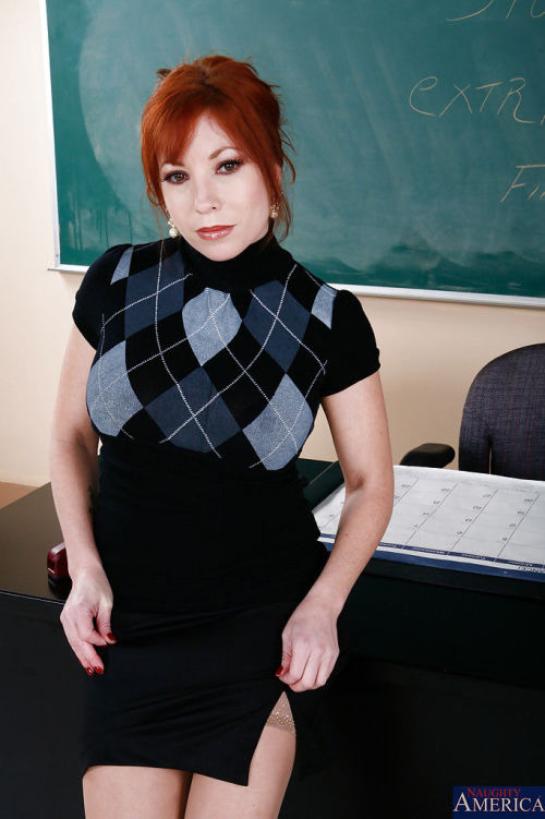 Redhead mature teacher in stockings undressing and rubbing her clit