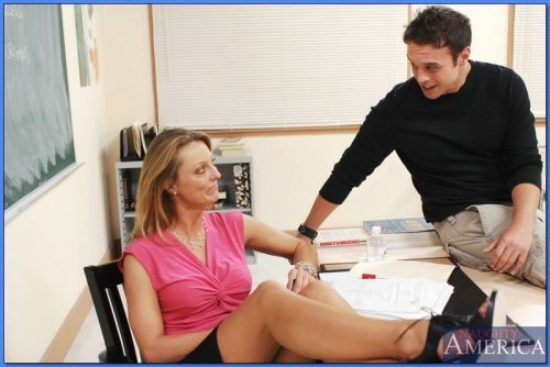 Blond teacher Brenda James takes a huge cock in her dripping MILF slit